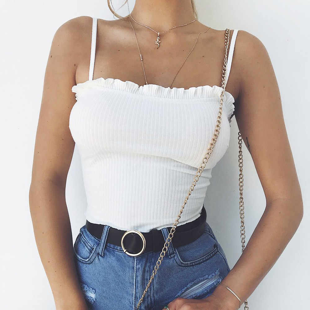 Fashion Dames zacht en comfortabel Wit Ruches Tank Top Vest Off Shoulder Halter Blouse T-Shirt Sexy Camis debardeur femme N4