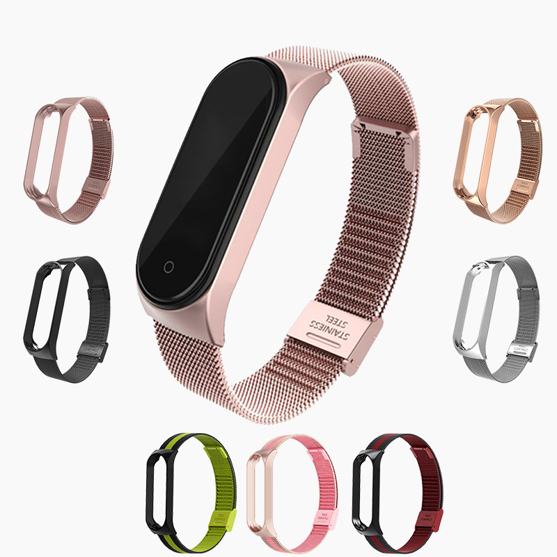 Mi band 5 4 3 Metal Strap Bracelet for Xiaomi Mi Band 3 4 5 Screwless Mi Band 4 3 bracelet MiBand Wrist band smart Band4 Steel(China)
