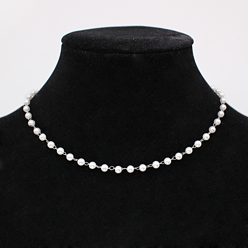 New Beads Women's Neck Chain Kpop Pearl Choker Necklace Gold Color Goth Chocker Jewelry On The Neck Pendant 2021 Collar For Girl