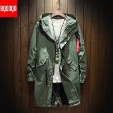 Длинный Тренч, мужская куртка, хлопок, осень, весна, черный, хип-хоп, японский стиль, уличная одежда, мужская куртка с капюшоном, армейский зеленый цвет, повседневные куртки