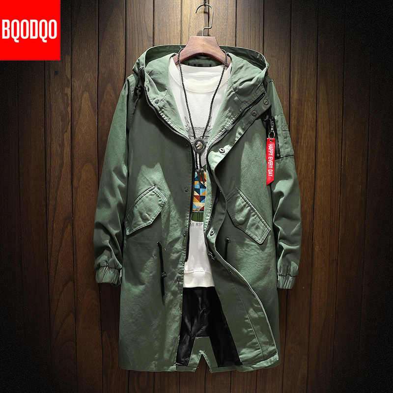 Long Trench Coat Jacket Men Cotton Autumn Spring Black Hip Hop Japanese Coats Streetwear Men's Hooded Army Green Casual Jackets