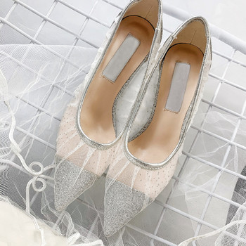 Womens Lace Rhinestones Sequins Bling Mesh Stilettos High Heel Pointed Toe Slip On Low Top Pumps Wedding Sliver Shoes M11