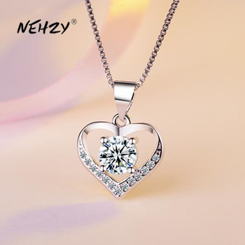 NEHZY 925 Sterling Silver New Woman Fashion Jewelry High Quality Crystal Zircon Heart-shaped Retro Pendant Necklace Length 45cm 1
