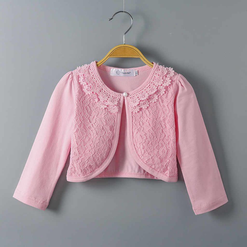 2019 חדש סתיו אופנה לילדים תינוק קטן בנות תחרה מזדמן נסיכת בולרו קרדיגן ארוך שרוול מושך בחולצות בגדי Dropship