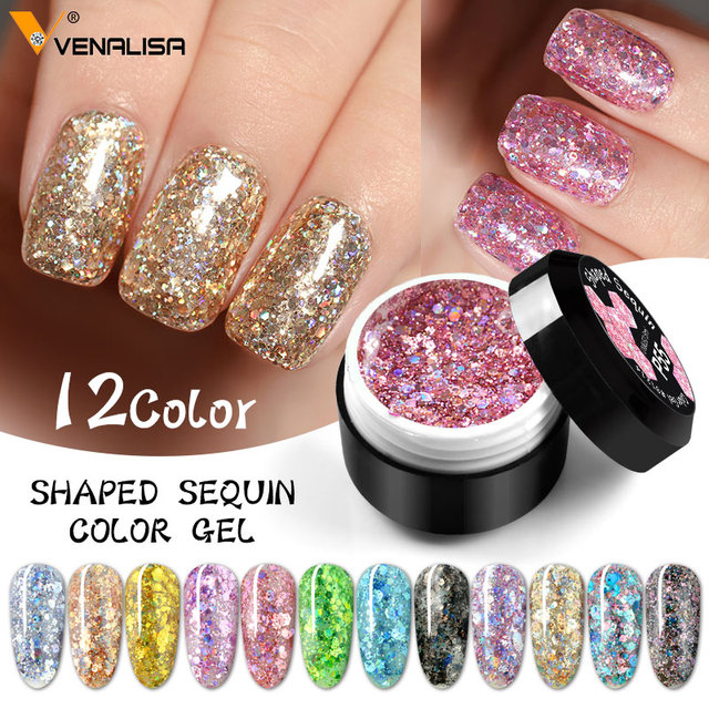 Glitter Bright Painting Gel Multi Shape Sequin Semi Permanent Soak Off UV LED Nail Gel Varnish Luxury Starry Color Gel Lacquer 1