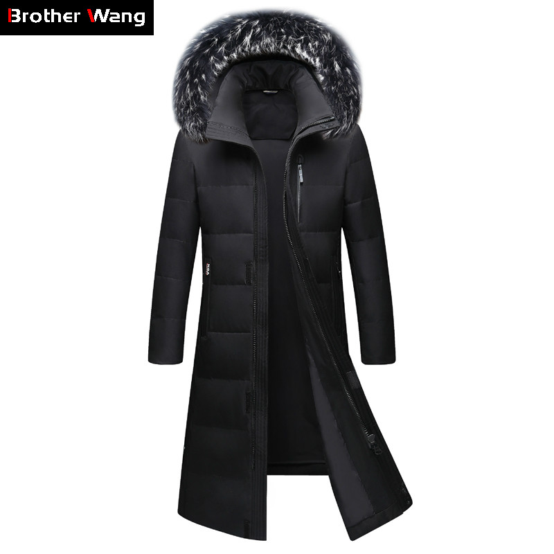 2019 Winter New Men's Knee Long   Down   Jacket Fashion Thicken Warm White Duck   Down   Fur Collar Hooded Parka   Coat   Male Brand Clothes