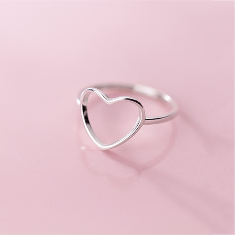 Genuine 925 Sterling Silver Minimalist Ring For Women Wedding Hollow Heart Fashion Jewelry Cute Valentine's Day Gift