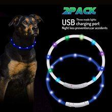 LED USB Rechargeable Adjustable Dog Pet Collar Flashing Size Safety Light Up X2 adjustable 2 mode led flashing dog collar belt orange