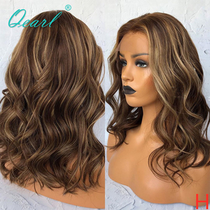 Ombre Colored Lace Front Wig Brown with Blonde Highlights Human Hair Wigs Wavy Brazilian Remy Hair 13x4/13x6 130% 150% Qearl(China)
