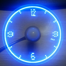 USB LED Fake Clock Fan USB Powered Cooling Flashing Function Gadgets W/ USB Changing Cable for PC/Notebook with USB port DC 5V
