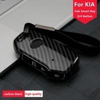 Auto Carbon Fiber Key Case Cover Houder Voor Kia Sportage Ceed Sorento Cerato Forte 2017 2018 2019 Remote Smart 3/4 knoppen