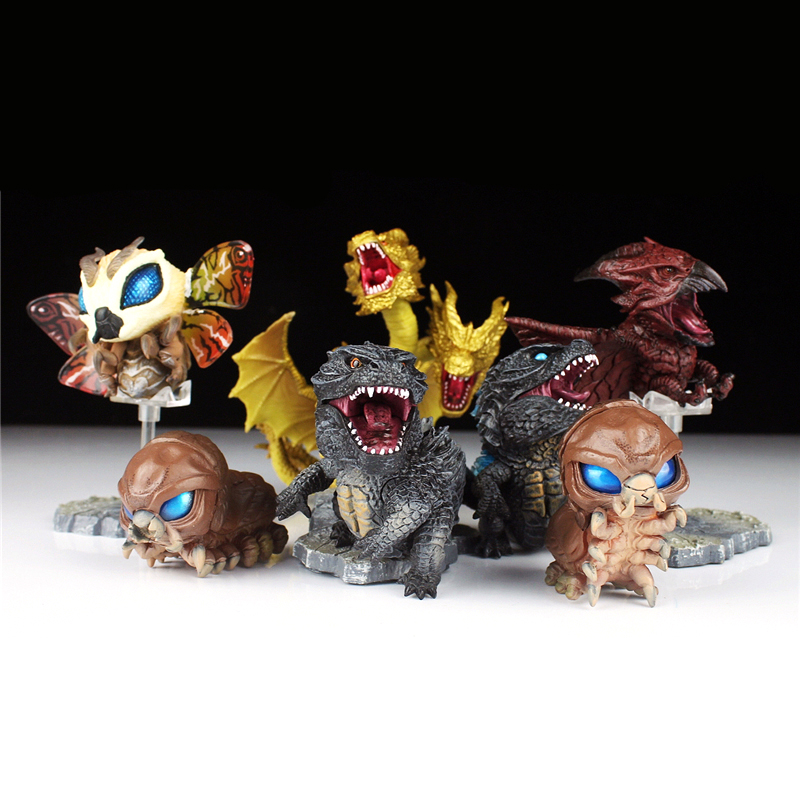 7pcs/set Gojira Cute 3-9cm PVC Action Figure Model Toys