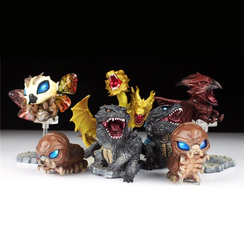7pcs/set Gojira Cute 3-9cm PVC Action Figure Model Toys