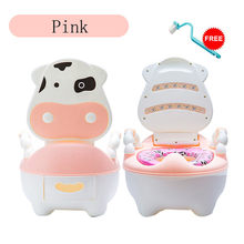 Portable Baby Potty Cartoon Lovely Cute Cow Potty Chair for Boys Girls Toddler Potty Training Toilet Seat Children's Pot M50#(China)