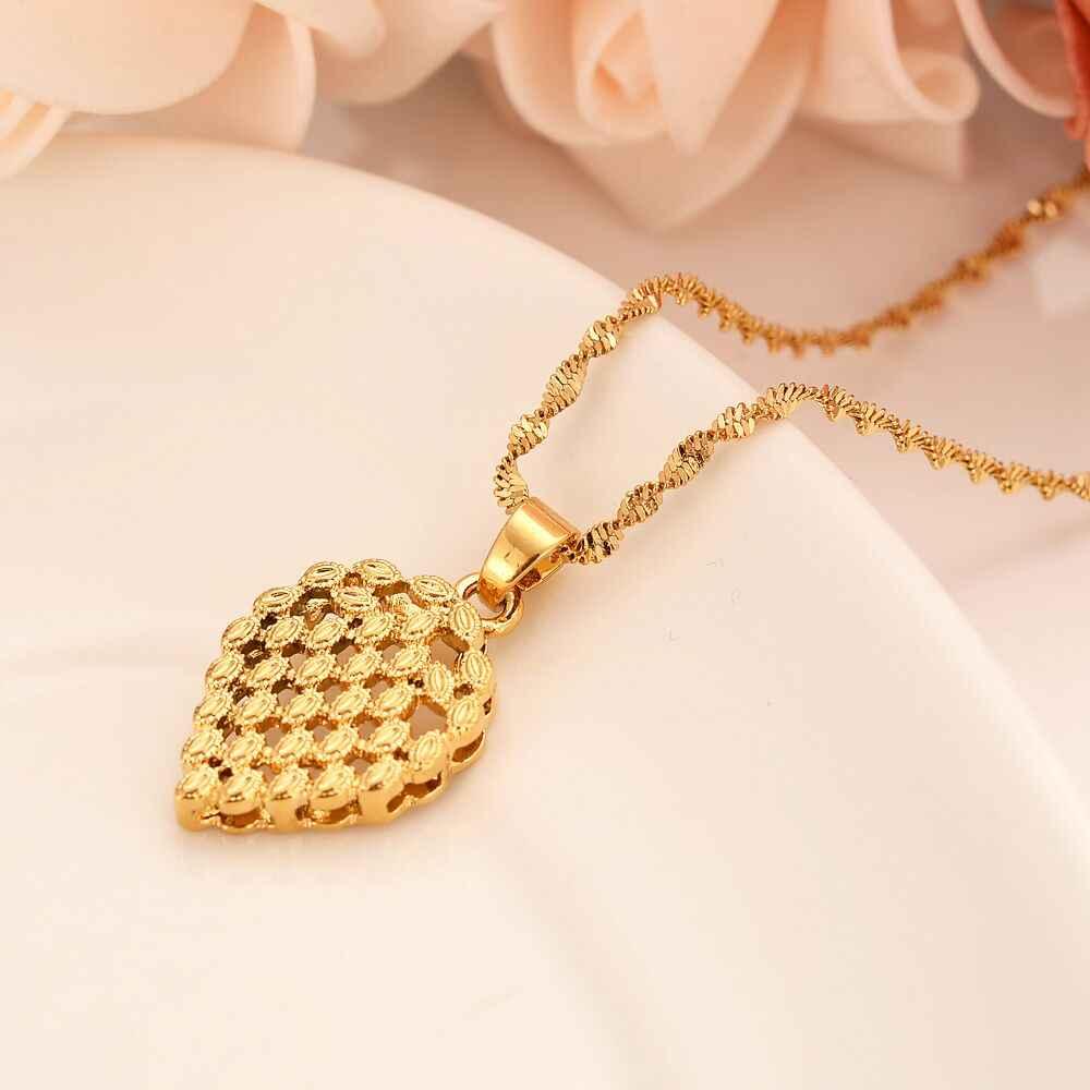 แฟชั่นหัวใจรักลูกปัดสร้อยคอต่างหูชุดเครื่องประดับเอธิโอเปียงานแต่งงานของขวัญ Fine 24 k Gold GF ผู้หญิง