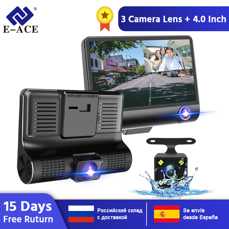 E-ACE B28 Auto Dvr Dash Cam 4,0 Zoll Video Recorder Auto Kamera 3 Kamera Objektiv Mit Rückansicht Kamera Registrator dashcam DVRs