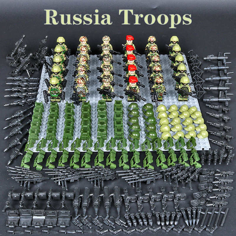 30pcs/set WW2 Blocks Toys  Soviet Soldiers Army of Russia Troops American soldiers Military Building large number of weapons