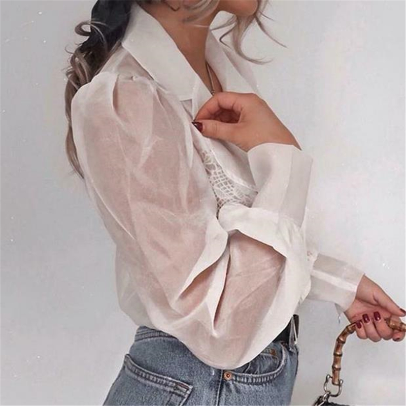 Fashion Women Blouse See-through Shirt Elegant Top Mesh Patchwork Puff Sleeve Shirt Turn-down Collar Blouses Tops Ruched Blouse