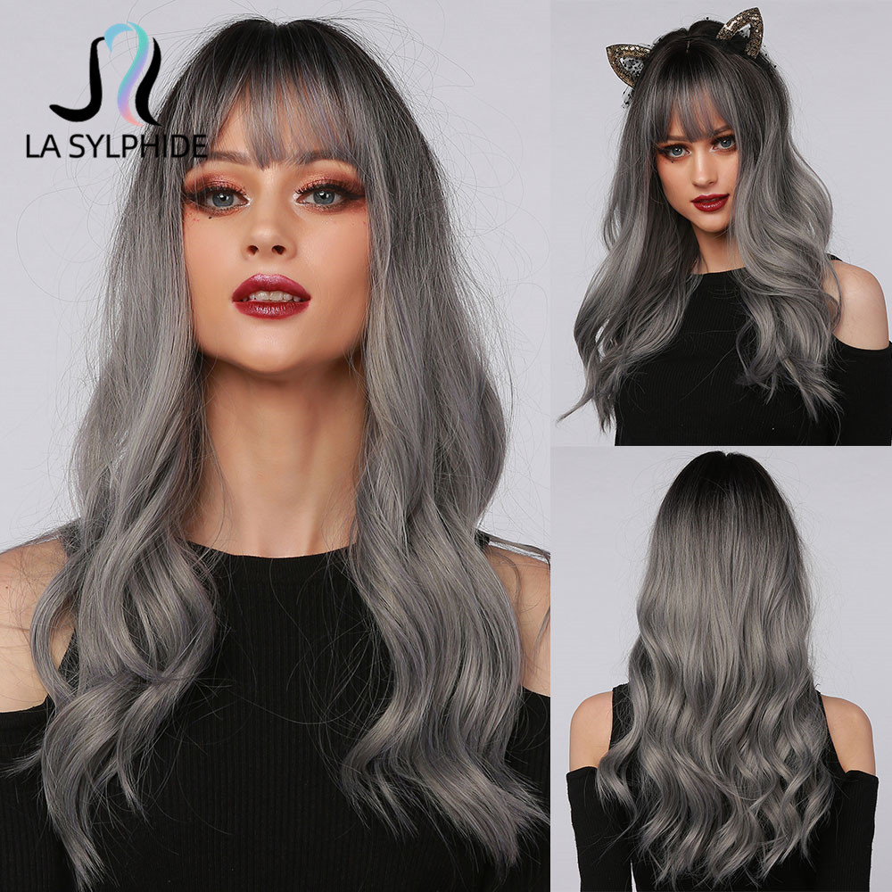 La Sylphide Halloween Cosplay Wig Long Nature Wave Root Black Ombre Grey Silver Synthetic Wigs with Bangs for Woman Party wigs
