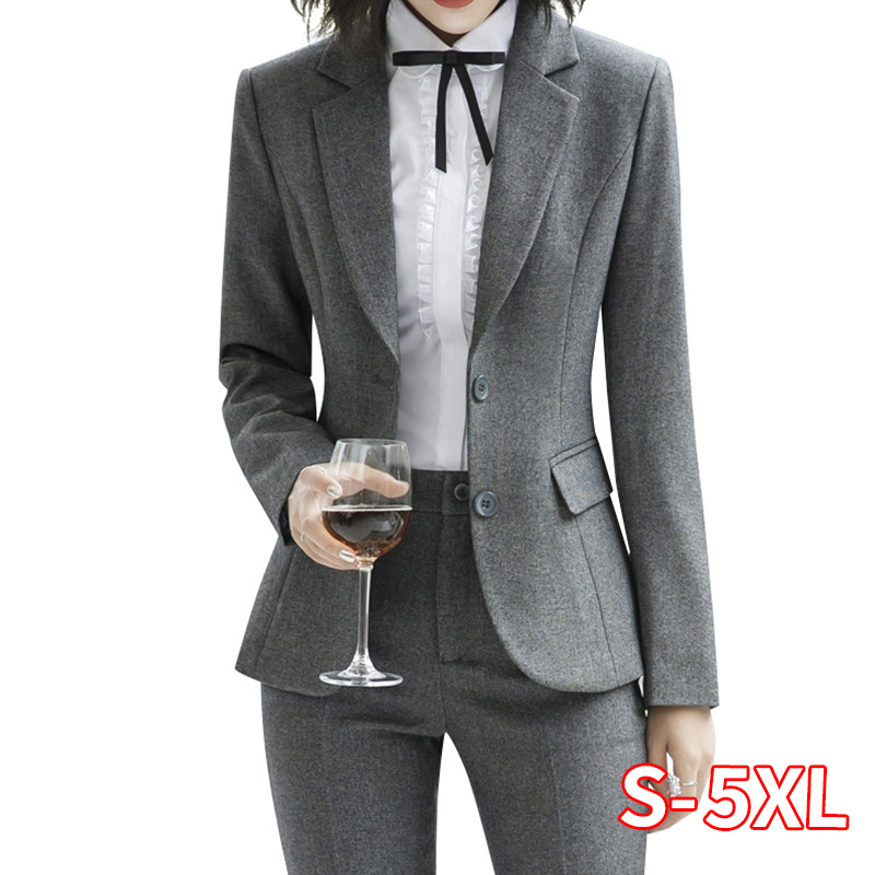 New Fashion 2 Piece Set Women Pant Suits Slim Work Wear Office Ladies Long Sleeve Blazer And Pants Office Suit Set Women