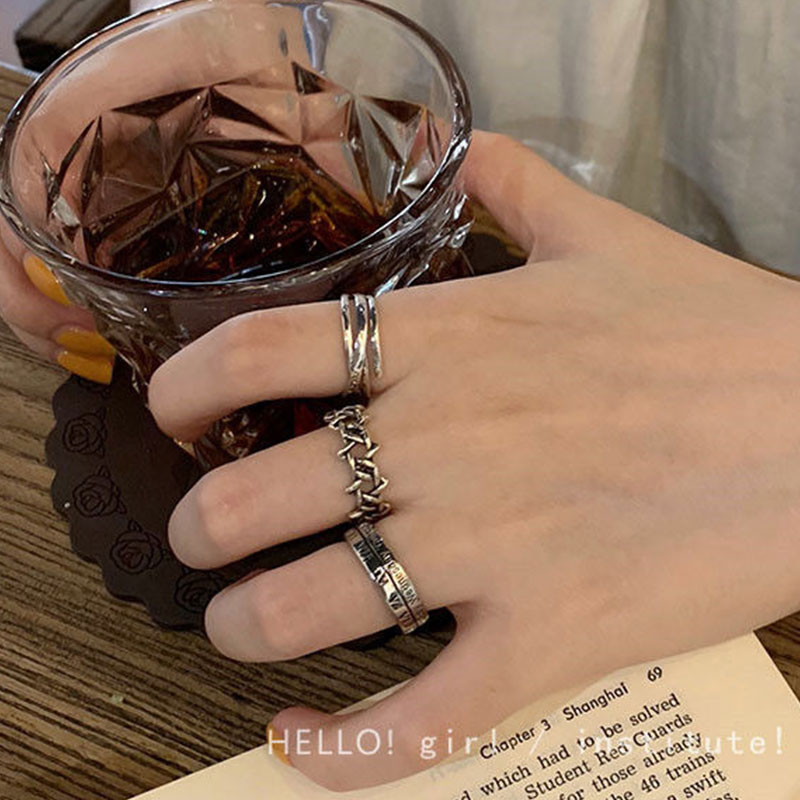 Rings Set For Women Men 2021 Trend Korea Style Couple Rings Aesthatic Vintage For Girl Grunge Jewelry Gift For Men Friends