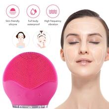 Электрическая вибрационная щетка для очищения лица, удаление черных точек, очищающее средство для пор, водонепроницаемый силиконовый массажер для лица