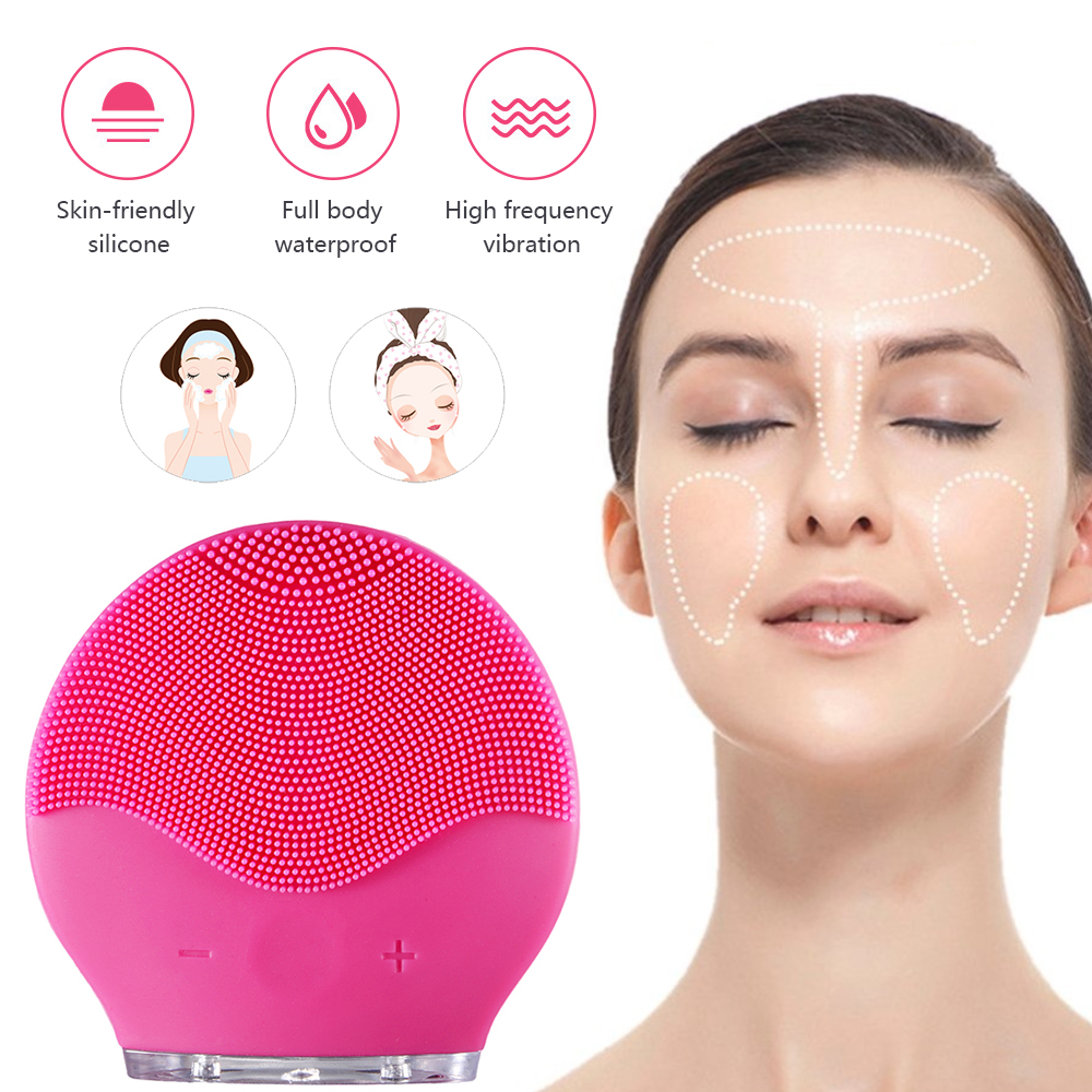 Electric Vibration Facial Cleansing Brush Skin Remove Blackhead Pore Cleanser Waterproof Silicone Face Massager