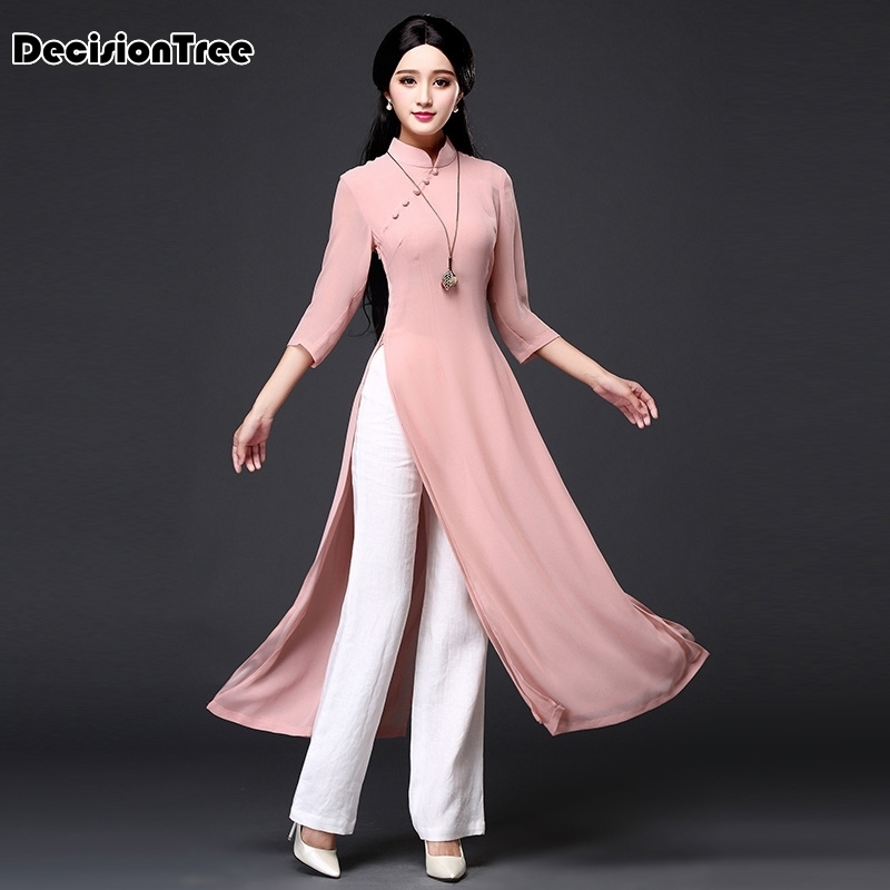 2020 Vietnam Ao Dai Qipao Traditional Chinese Dress Qipao Cheongsam Dresses Cotton Linen Robe Chinoise Aodai 2 Pieces Suit