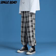 SingleRoad Mens Sweatpants Men 2021 Spring Plaid Baggy Joggers Japanese Streetwear Trousers