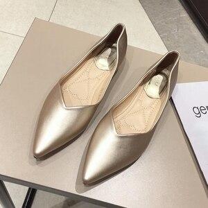 Image 4 - 2020 najnowszy szary podstawowe damskie płaski baleriny buty szpiczasty nosek wiosna jesień kobieta mokasyny na co dzień miękkie panie pracują pojedyncze buty