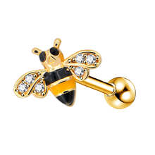 Body Punk 316L Surgical Steel Gold Bee Cartilage Earring Studs 16G Qute Tragus Helix Hoop Ear Piercing for Women