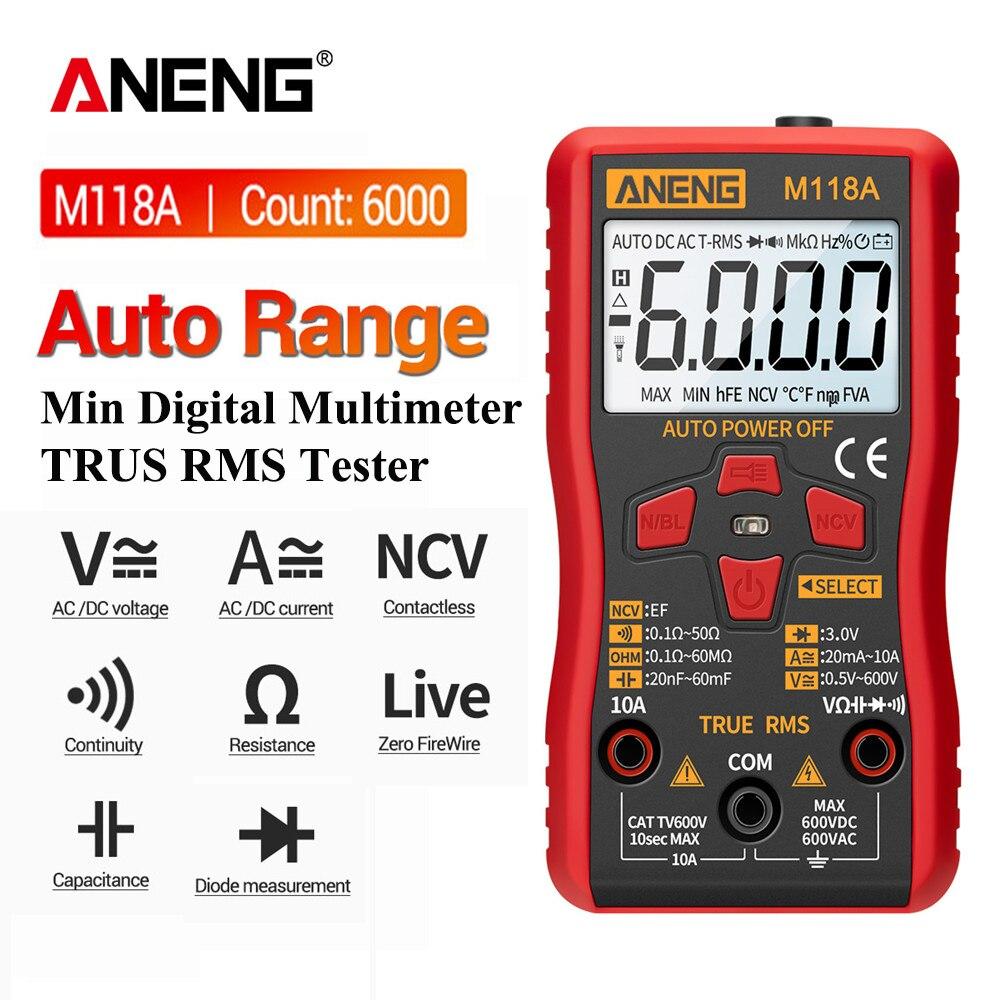 ANENG M118A numérique Mini multimètre testeur automatique Mmultimetro vrai Rms Tranistor mètre avec NCV données tenir 6000 compte lampe de poche