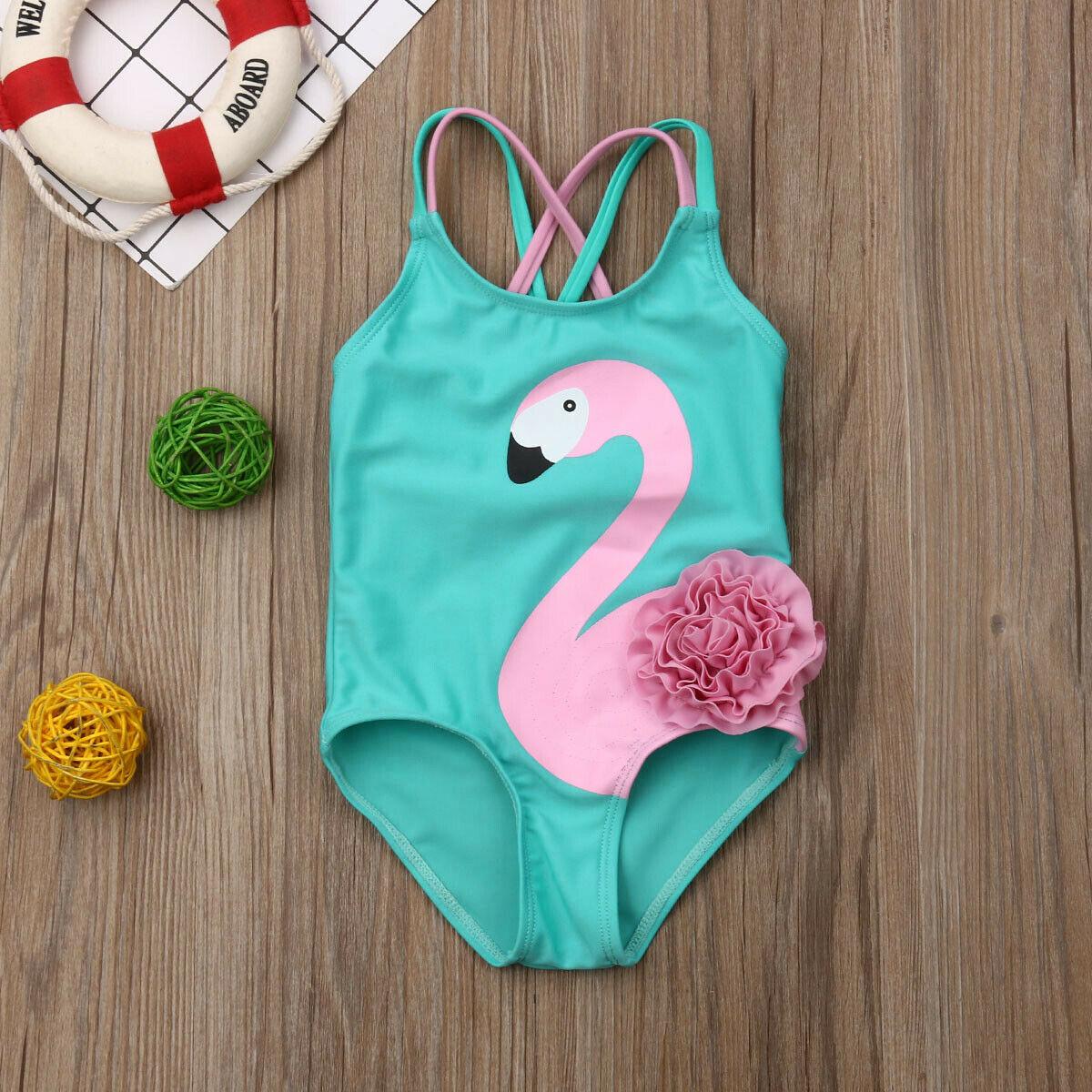 Toddler Kids Baby Girls Flamingo Sleeveless Bikini Swimwear Swimsuit Beachwear Bathing Suit