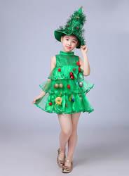Детский костюм для выступлений с рождественской елкой; Рождественская Одежда для девочек; одежда для детей на Рождество и новый год
