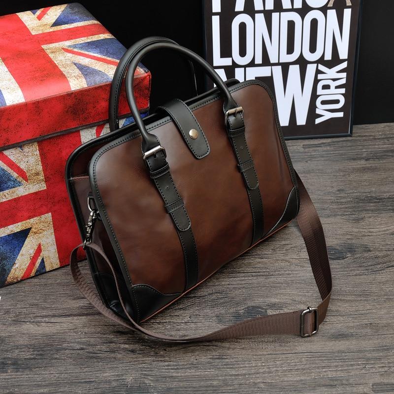 Vintage Men Crazy Horse Genuine Leather Briefcase Laptop Business Bag High Capacity Student Cowhide Shoulder Bags