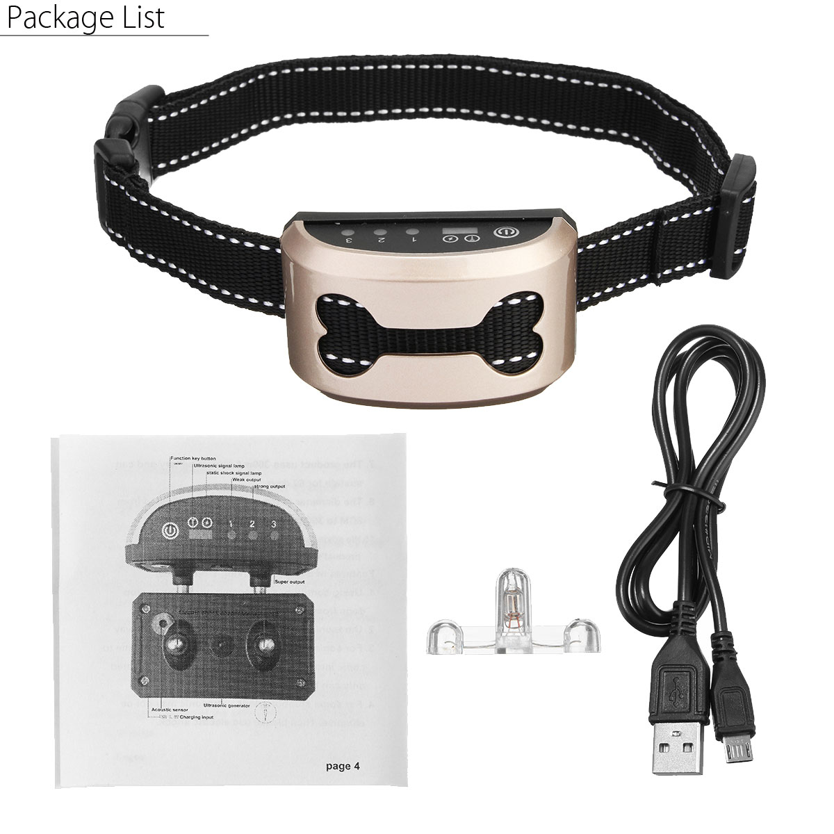 Rechargeable and Anti Bark Dog Shock Collar for Dog Training with Remote and Voice Control 7