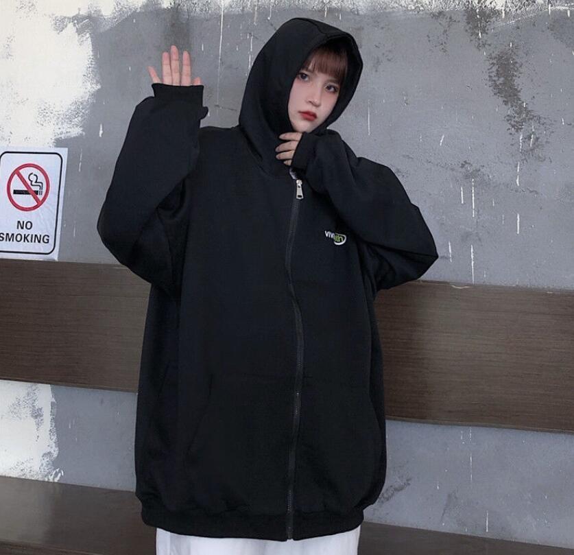 Harajuku Zip Up Sweatshirts Women Hoodies Korean Oversized Thin Clothes Plus Size Loose Casual Solid Color Shirt Long Sleeve Top 13