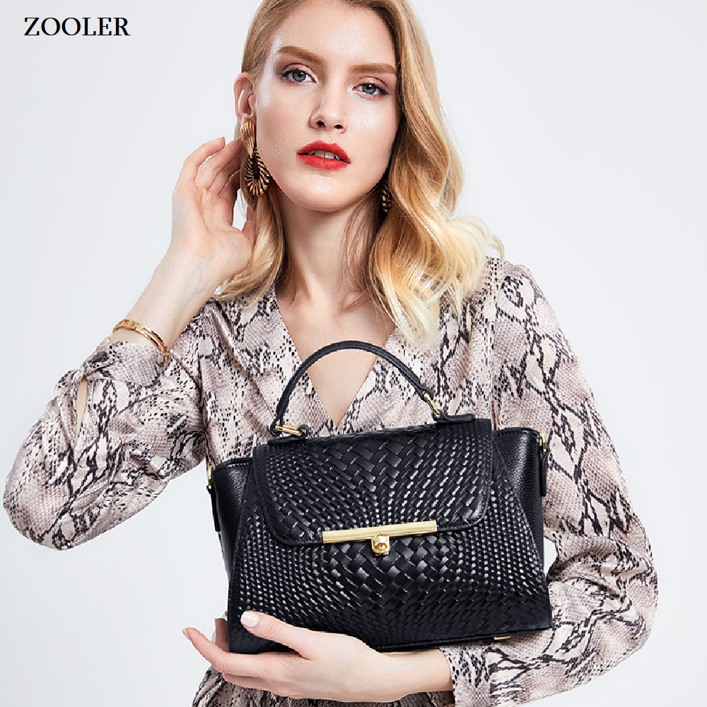 ZOOLER 2019 genuine leather bags women handbag fashion messenger bag ladies tote bag purses knitting shoulder bags designer C162 in Top Handle Bags from Luggage Bags