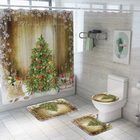 Christmas Print Toilet Bathroom Mat And Shower Curtain Four Piece Set Tropical Plants Shower Curtain Bathroom Waterproof
