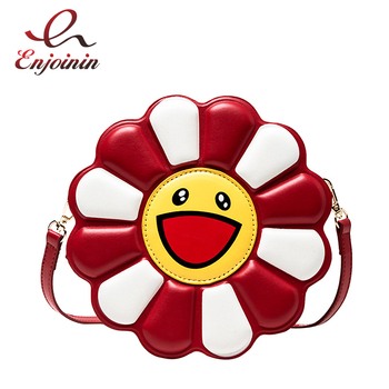 Cute Novel 3D Sun Flower Design Leather Young Girl's Purses and Handbags Crossbody Bag Women Shoulder Bag Casual Totes Pouch New cute women s crossbody bag with tassels and smile pattern design