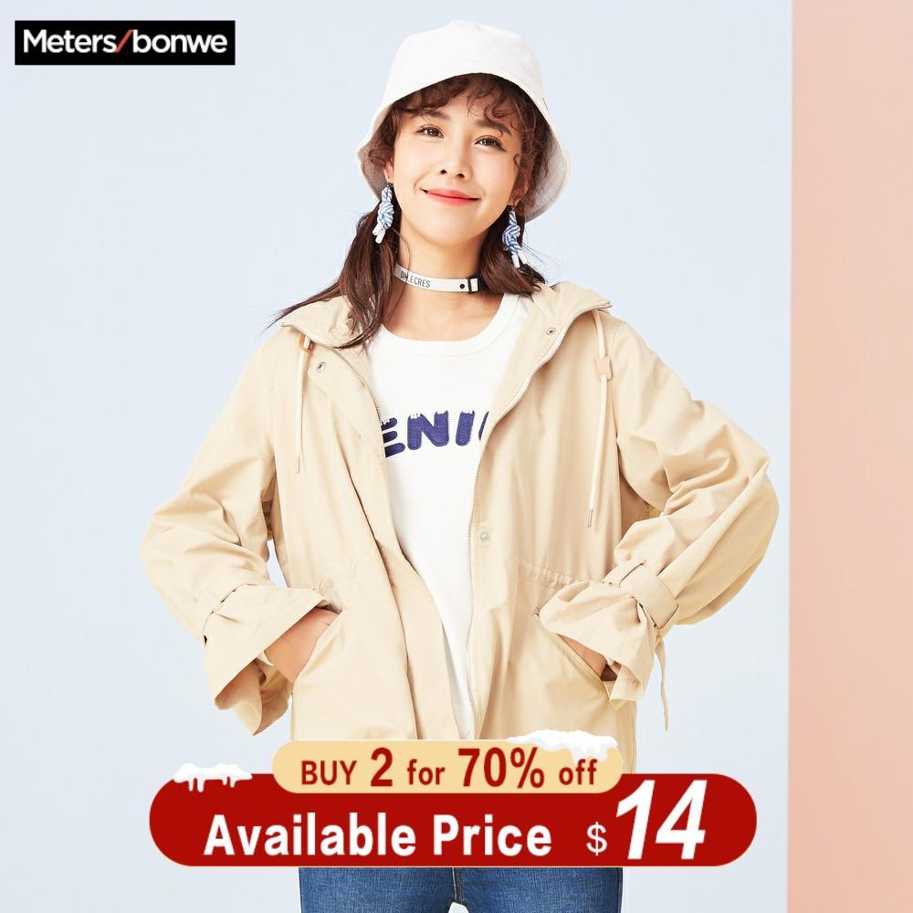 Metersbonwe marque veste femmes printemps mode trenchcoat décontracté manteau court doux étudiant manteau taille vêtements de travail