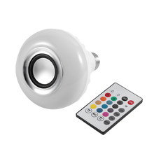 ICOCO Smart Wireless Bluetooth LED Stereo Audio Lautsprecher RGB Bunte Birne 12W 28 LEDs Licht Perlen Musik Lampe Fernbedienung controller(China)