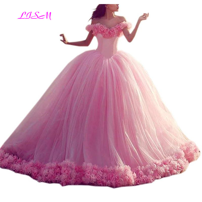 Off The Shoulder Lace Up Ball Gown Long Quinceanera Dress With Flowers Elegant Empire Sleeveless Tulle Prom Party Gowns