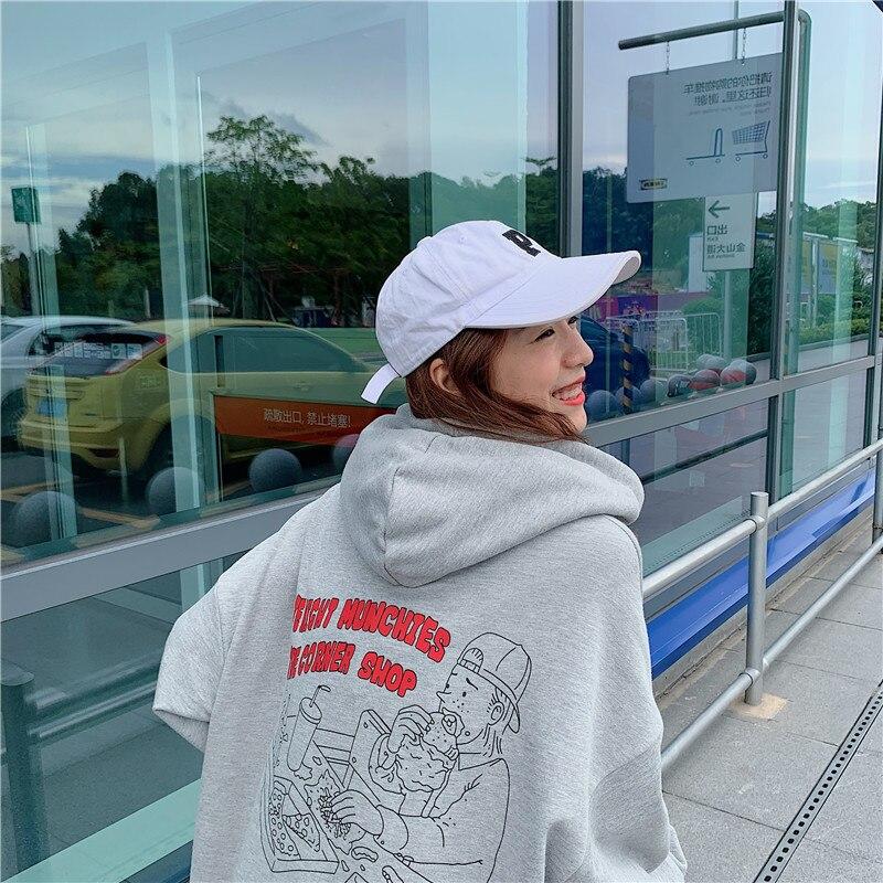 Image 4 - Hoodies Women 2020 Korean Style Loose Girls Thin Cartoon Printed Large Ulzzang Harajuku Womens Sweatshirts Chic Casual FashionHoodies & Sweatshirts   -