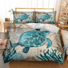 Turtles Bedding Set Marine Animal Duvet Cover Bed linen 3-Piece Blue and White Bedclothes 3pcs dropshipping