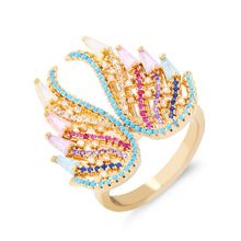 2019 New Arrival Color Zircon Wing Rings For Women Fashion Sparking 5A+ Grade Imported Cubic Crystal Micro-inlaid Anel