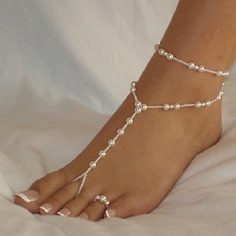 1 SET Beach Imitation Pearl Barefoot Sandal Anklet Chain Fashion Pearl Anklet Women Ankle Bracelet Foot Jewelry