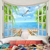 Natureza paisagem tapeçaria arte pendurado parede paisagem lance colcha decoração para casa praia lance tapete artesanato tapeçarias deco