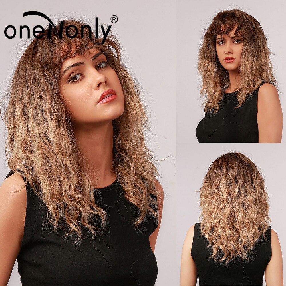 Женский синтетический парик oneNonly средней длины, термостойкие волнистые кудрявые, с эффектом омбре, светлые, с челкой, для косплея