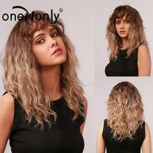 Onenonly comprimento médio encaracolado onda ombre marrom loira perucas sintéticas com franja para mulheres cosplay diário cabelo resistente ao calor